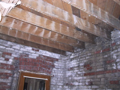 Exposed brick & ceiling joists