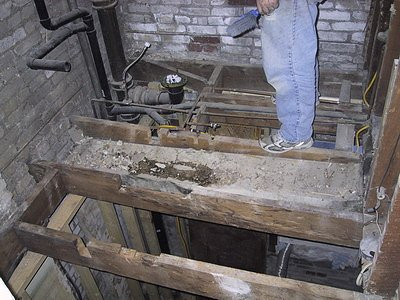 Joists between bathroom and kitchen